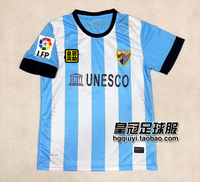 Free Shipping Best Selling 100% Polyester Thai version of Malaga Jersey NEW 13-14 blue home soccer jersey