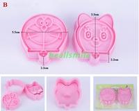 free shipping 2013fashion Cookie cutter 3D Doraemon animal cake  Vegetable molds cake cutter bakware mould DIY 4pcs/LOT