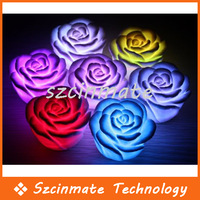 Free Shipping 7 Color Rose Battery LED Night Light Candle Lamp Romantic Gift 100pcs/lot Wholesale