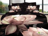 Fashion oil painting 3d piece bedding set meat pink black bedding 100% cotton active