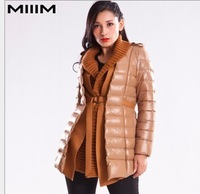 Free shipping 2013 Europe and the United States long feather double down jacket coat collar woman in the atmosphere