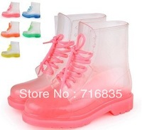 Free Shipping 2013 PVC Transparent Women Colorful Crystal Clear Flats Heels Shoes Female Rainboot Martin Rain Boots#X587
