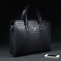 Formal cowhide man bag embossed check fashion shoulder bag casual bag handbag briefcase bag