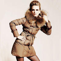 2013 European-American high-end luxury beauty fashion boutique women's new down jacket plus large size coat slim long  outerwear