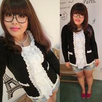 Mm autumn sweater outerwear plus size clothing plus size slim laciness faux two piece set 655