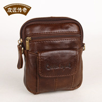Fashion man bag fashion vintage bag first layer of cowhide messenger bag running waist pack small messenger bag