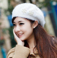Women's autumn and winter rabbit fur beret painter warm cap thickening encryption pearl flower hat FREE SHIPPING