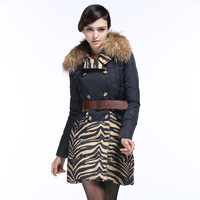 2013wholesale New Winter Fashion High-End Luxury European Long Paragraph Slim Splicing Thick Fur Collar Down Jacket Women Coat