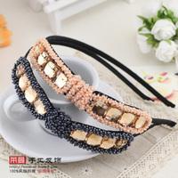 (MIN ORDER $15)Korean  handmade woven crystal beads  hairband p051