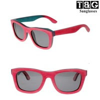 Super Vintage Flat Top Women Brand Magenta Wooden Skateboards Sunglasses Vintage Female Polarized Glasses For Girls Free Shippin