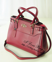 2013 women's fashion genuine leather handbag cowhide handbag one shoulder cross-body small fresh all-match wine red envelope