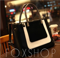 Women's Fashion Patchwork Black-and-White All-match Tote Handbag Messenger Bag