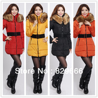 FREE SHIPPING 2013 Winter Thick Extra Large Fur Collar Down Coat Cotton Padded Jacket Women's Medium-long Down Jacket-9980