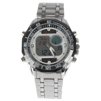 LCD Light Solar-powered Chronograph Digital Men Wrist Watch Analog Round Wristwatch with Hours Date