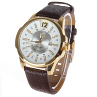 Curren 8123 Genuine Leather Band Wrist Watch Analog Round Wristwatch Dress Styles for Men Women with Date Hours Display