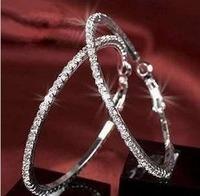 E0037 full rhinestone big circle cz diamond earrings hoop earrings in ear rhinestone/Free shipping