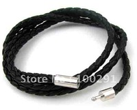 Free ship!!! braided leather cord necklace bracelet  3mm with fashion clasp 16inch