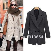 Sale new 2013 european fashion autumn winter coat women solid color overcoat Medium-long Wool Coat thick Slim women's coats