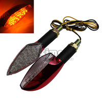 2 x 12V light Motorcycle 15-LED Turn Signal Indicators Lights Amber red housing