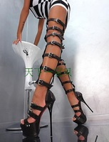 Free shipping  plus size 2014 genuine leather GL high heel sandals cool white and black boots 16 cm with catwalk shoes