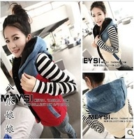2877 denim color block decoration fashion with a hood vest all-match