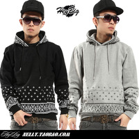autumn male full-body flower cashew polka dot pullover with a hood sweatshirt hoodie outerwear