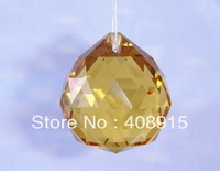 Free shipping, 40mm Hanging Crystal Ball, Yellow color Crystal Drop, Ornament for Wedding/Christmas, Chandelier Parts, 10pcs/lot