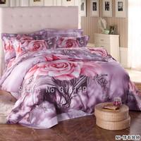 Free Shipping,100% cotton 4pcs queen/full/king bedlinen pink rose floral light purple comforter duvet/quilt covers bedding sets