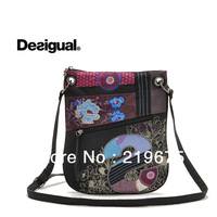 FS 2014 new desigual  women's handbag purple+black flower vintage messenger bag bolso de las mujeres mensajero de la vendimia