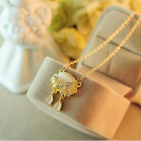 ( MIX order $ 10)Japan and South Korea  jewelry opal butterfly rhinestone set auger clavicle short chain necklace female 0906