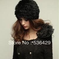 Free shipping Genuine Knit Rabbit Fur Hat Nature Rabbit fur Cap Headgear Headdress Various Fashion women's fur winter hats