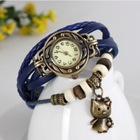 New Stylish Vintage Retro Genuine Cow Leather watches women lady bead antique bracelet watches with hello kitty pendant WTH37