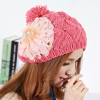 Autumn and winter women's fashion sweet flower painter cap beret wool ball knitted ear hat knitted hat