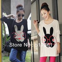women rabbit t shirt printing t shirt for women large top eyeglasses rabbit white and black plus size cartoon t free shipping