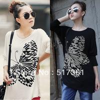 women punk large t shirt korean fashion butterfly winter autumn coat wear inside women plus size top lady free shipping
