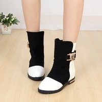 2013 spring and autumn female big boy medium-leg boots snow boots PU slip-resistant fashionable patent leather casual boots