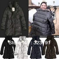 free shipping Women's Down Coat Lady Long Jacket Hood & Belt Winter Clothes 6 color S--XL  Duck Down 90%