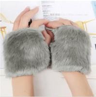 Autumn and Winter Yarn Gloves Women's Short Design Faux Rabbit Fur Ball Knitted Semi-finger Gloves Lovely Paragraph