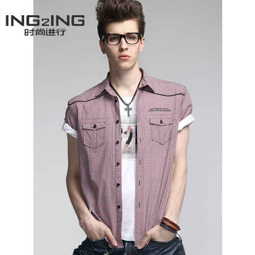 2013 ing2ing men's clothing fashion yarn dyed fine plaid casual short-sleeve shirt(China (Mainland))