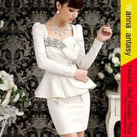 2013 Womens Suit 1pcs Dresses Sexy White Noble gemstone Bowknot Evening Party Mini Dress TOP QUALITY!