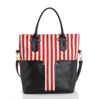 2013 casual all-match large capacity bag  brief formal women's handbag shoulder bag big stripe canvas bag