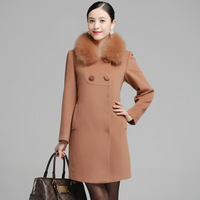 female overcoat 2013 high quality fox fur long design woolen overcoat Cashmere overcoat