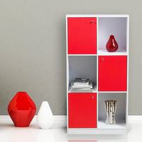 Three layer bookcase red door books cabinet modern brief display cabinet living room storage cabinet