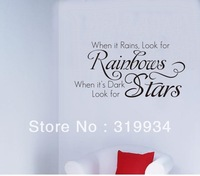 free shipping ,English proverbs- when it rain,look at raindrop;when it dark ,look at stars.Wall Stickers