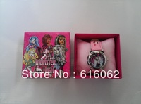Free Shipping 1pcs New style Cartoon Monster High Wristwatch Kids Lovely Fashion Watches Children Watch With Gift Box