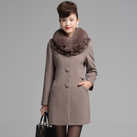 2013 winter middle-age women slim single breasted cashmere fox fur overcoat female