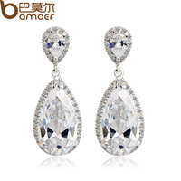 High Quality Hearts and arrows Cut Drop Earrings Swiss Cubic Zircon Diamond with Micro CZ Wedding Bamoer Jewelry YIE023