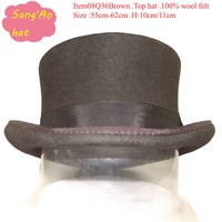 wholesale10cm brown round top hats wool with ribbon100% wool felt and white lining high quality for festival or meeting or dance