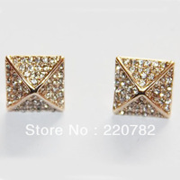 2013 Fashion Top Quality Brand Items Michael Gold/Silver Plated Crystal Egyptian Pyramids Stud Earrings For Women Christmas Gift
