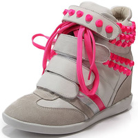 Pink Rivet Isabel Marant Wedge Sneakers, 3 Styles Genuine Leather,EU35~40,Height Increasing 7cm,Drop Shipping/Free Shipping